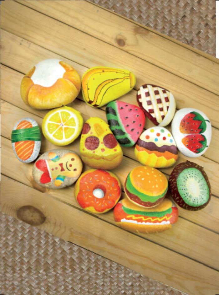 简单可爱的水果石头画