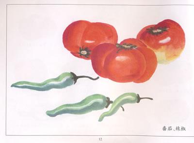 柿子画法 枇杷画法 葡萄画法