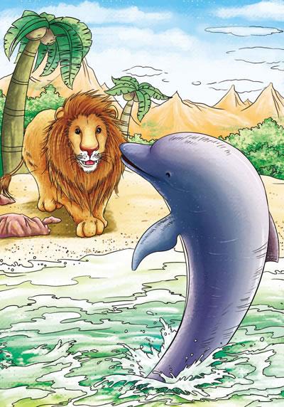 听说狮子生病了,其他小动物都来好奇地观看.