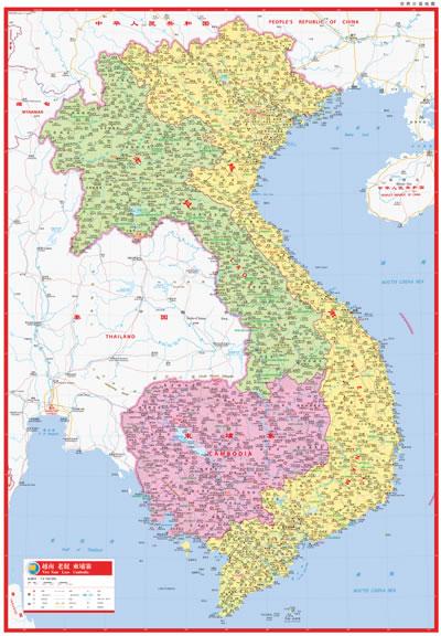 柬埔寨和老挝地图