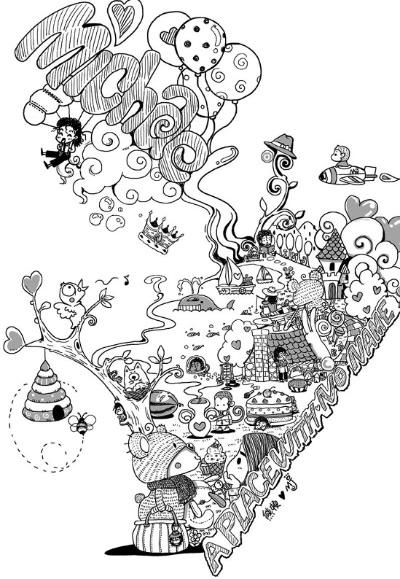 结婚纪念手绘插画